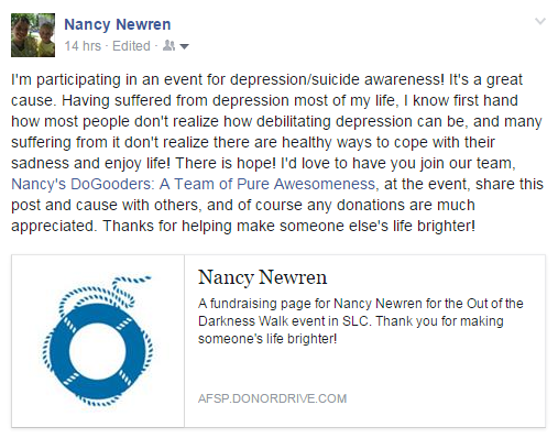 Nancy's FB post about the Out of the Darkness Walk SLC 2015